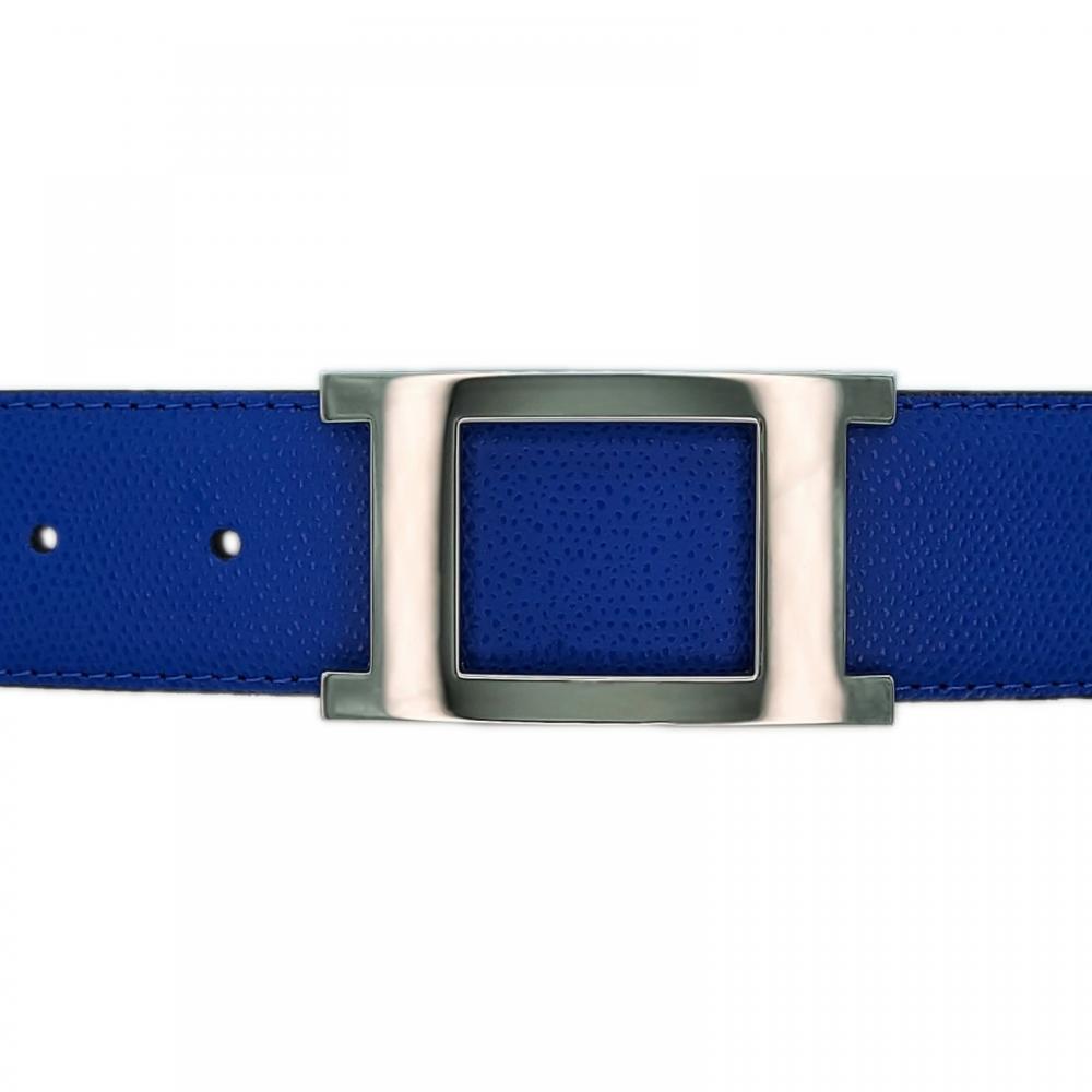 Ceinture cuir grainé bleu roi 40 mm - Porto-fino argent