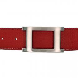 Ceinture cuir souple rouge 40 mm - Porto-fino mate