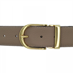 Ceinture cuir souple taupe 40 mm - Roma or