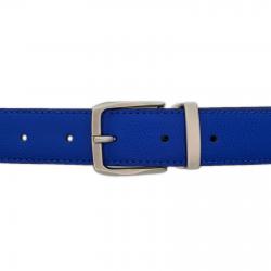Ceinture cuir grainé bleu roi 30 mm - Côme mate