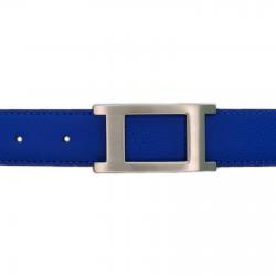 Ceinture cuir grainé bleu roi 30 mm - Porto-fino mate