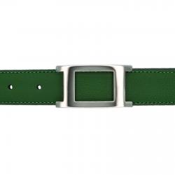 Ceinture cuir grainé vert 30 mm - Porto-fino argent