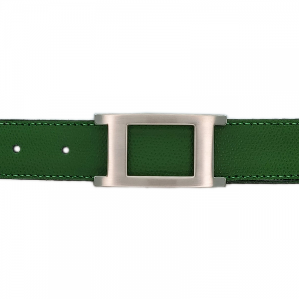 Ceinture cuir grainé vert 30 mm - Porto-fino mate