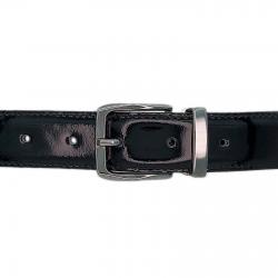 Ceinture cuir vernis noir 30 mm - Côme canon fusil