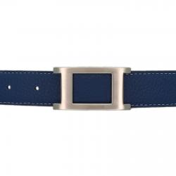 Ceinture cuir souple bleu marine 30 mm - Porto-fino mate