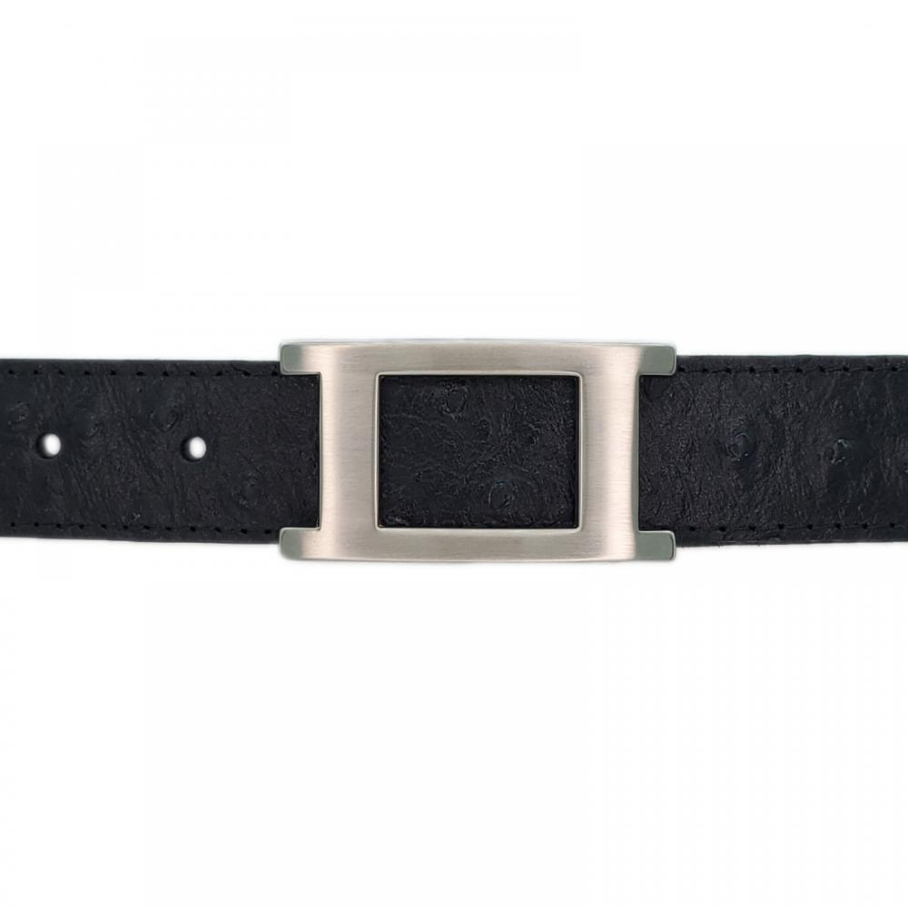 Ceinture cuir façon autruche noir 30 mm - Porto-fino mate