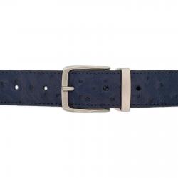 Ceinture cuir façon autruche bleu marine 30 mm - Côme mate