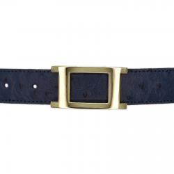 Ceinture cuir façon autruche bleu marine 30 mm - Porto-fino or