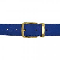 Ceinture cuir façon autruche bleu roi 30 mm - Côme or
