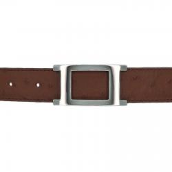 Ceinture cuir façon autruche marron clair 30 mm - Porto-fino argent