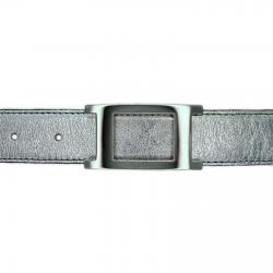 Ceinture cuir souple argent 30 mm - Porto-fino argent